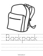Backpack Handwriting Sheet