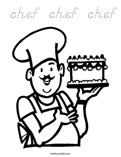 Baker with cake Coloring Page