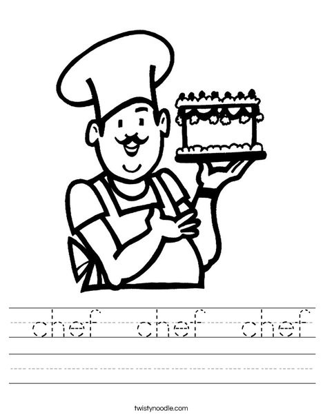 Baker with cake Worksheet