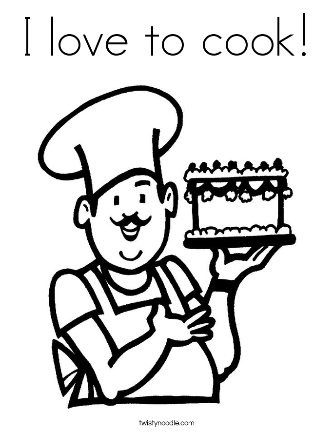 I love to cook! Coloring Page