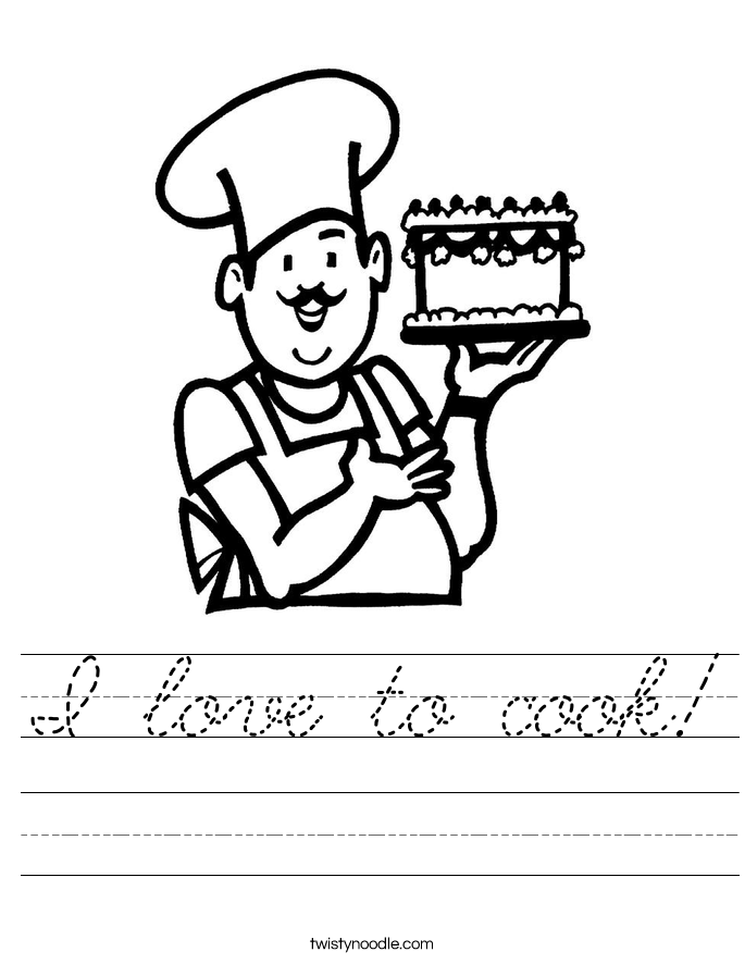 I love to cook! Worksheet