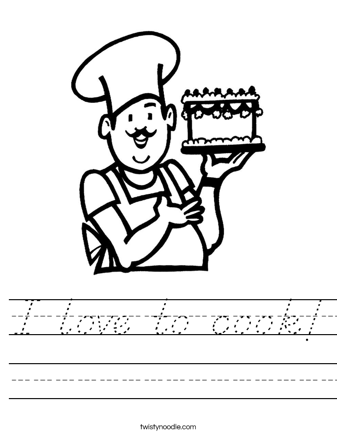 I love to cook! Worksheet