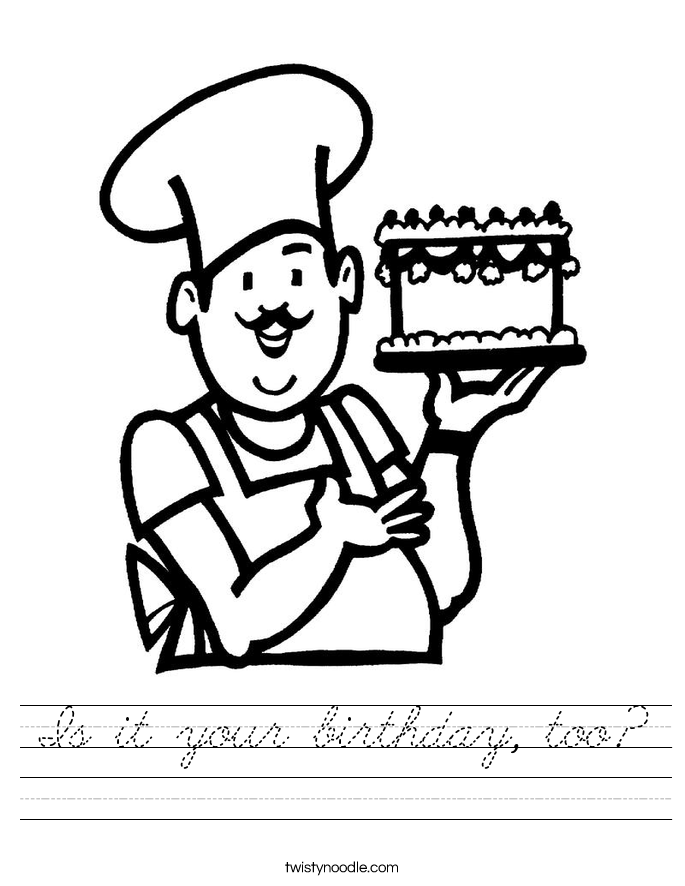 Is it your birthday, too? Worksheet