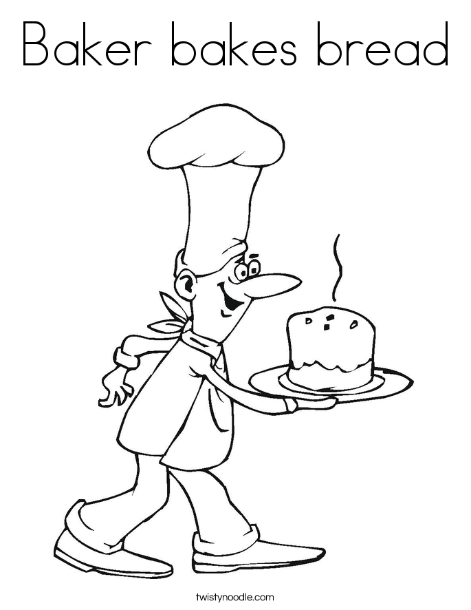 Baker bakes bread Coloring Page