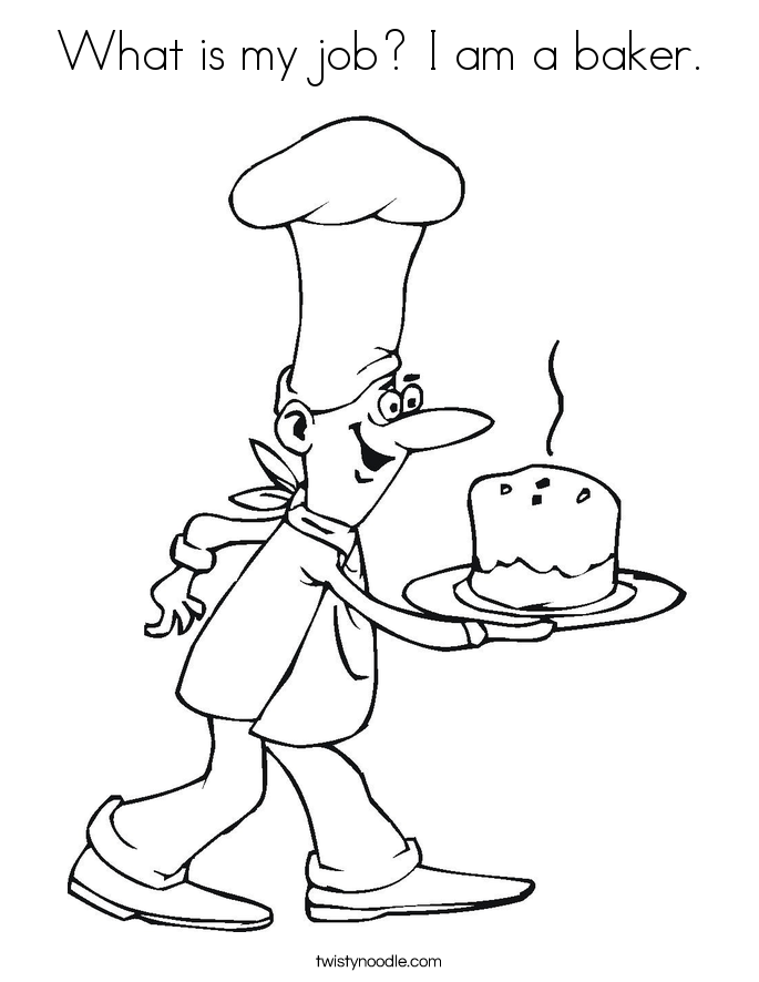 What is my job? I am a baker. Coloring Page