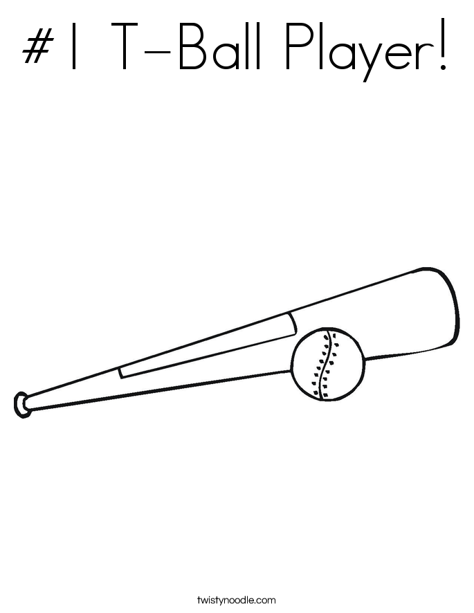 #1 T-Ball Player! Coloring Page