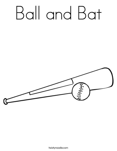Ball and Bat Coloring Page