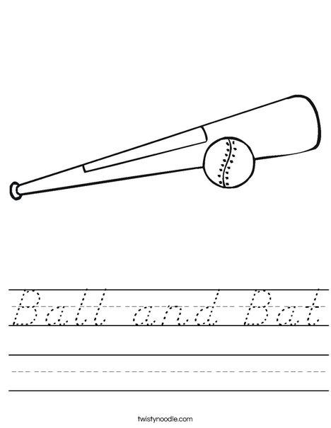 Ball and Bat Worksheet - D'Nealian - Twisty Noodle