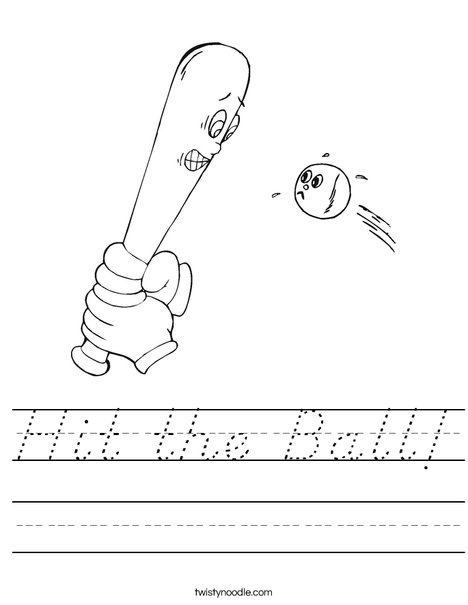 Funny Ball and Bat Worksheet