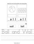 Ball and Wall Handwriting Sheet