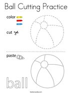 Ball Cutting Practice Coloring Page