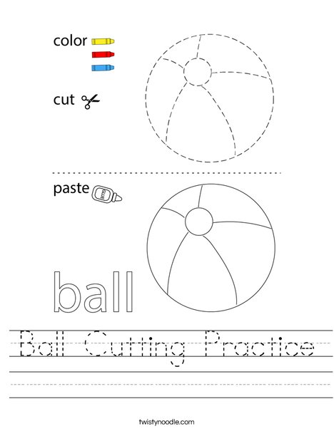 Ball Cutting Practice Worksheet