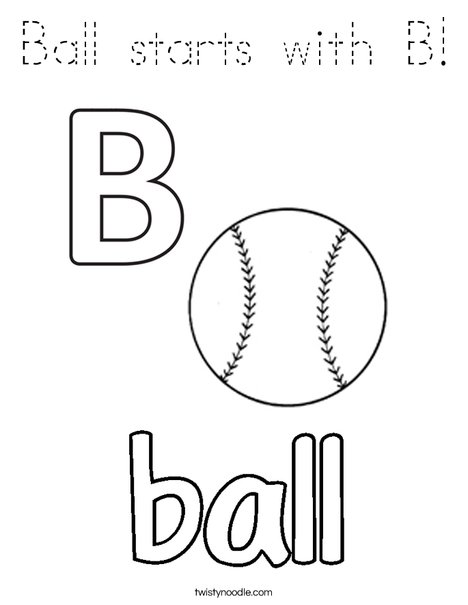 Ball starts with B! Coloring Page