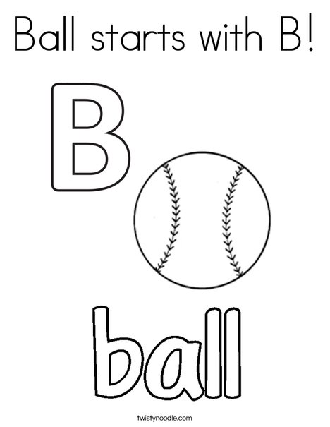 Ball starts with B Coloring Page - Twisty Noodle