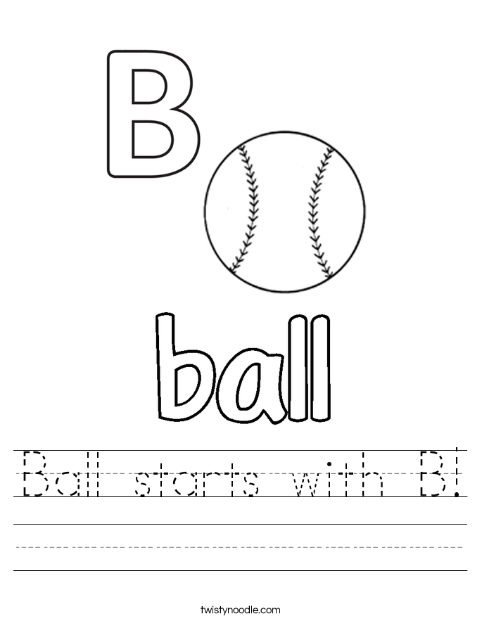 Ball starts with B! Worksheet