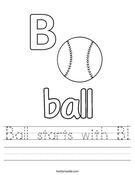 Ball starts with B Worksheet - Twisty Noodle