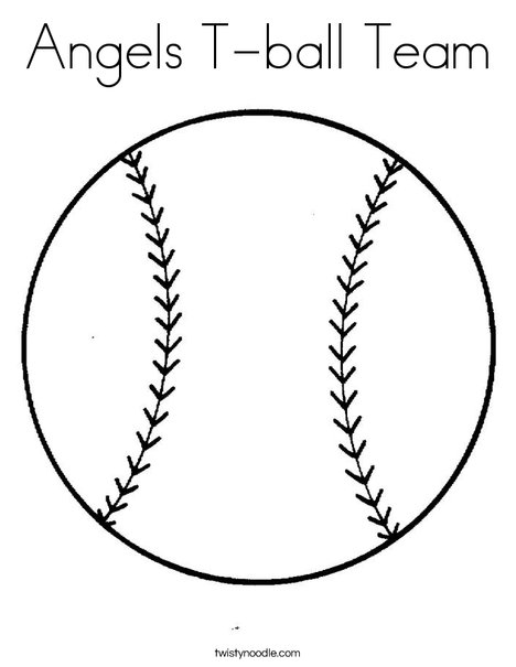 Angels T ball Team Coloring Page Twisty Noodle
