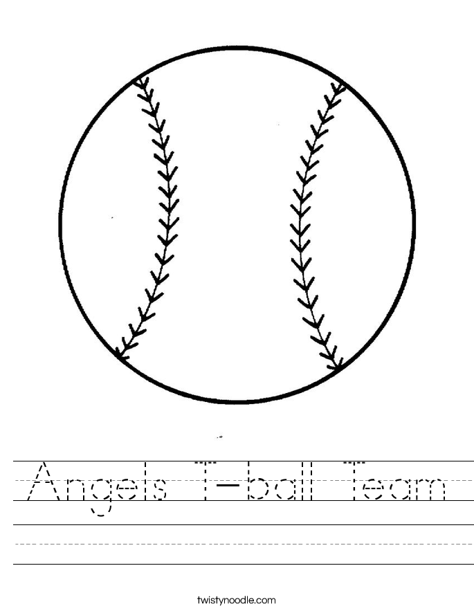 Angels T-ball Team Worksheet