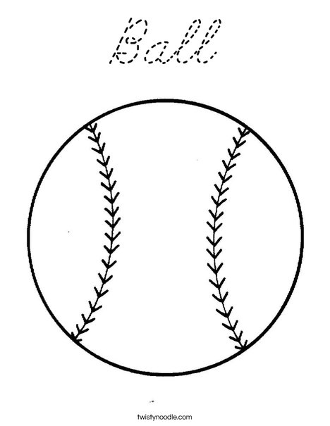 Ball Coloring Page Cursive Twisty Noodle