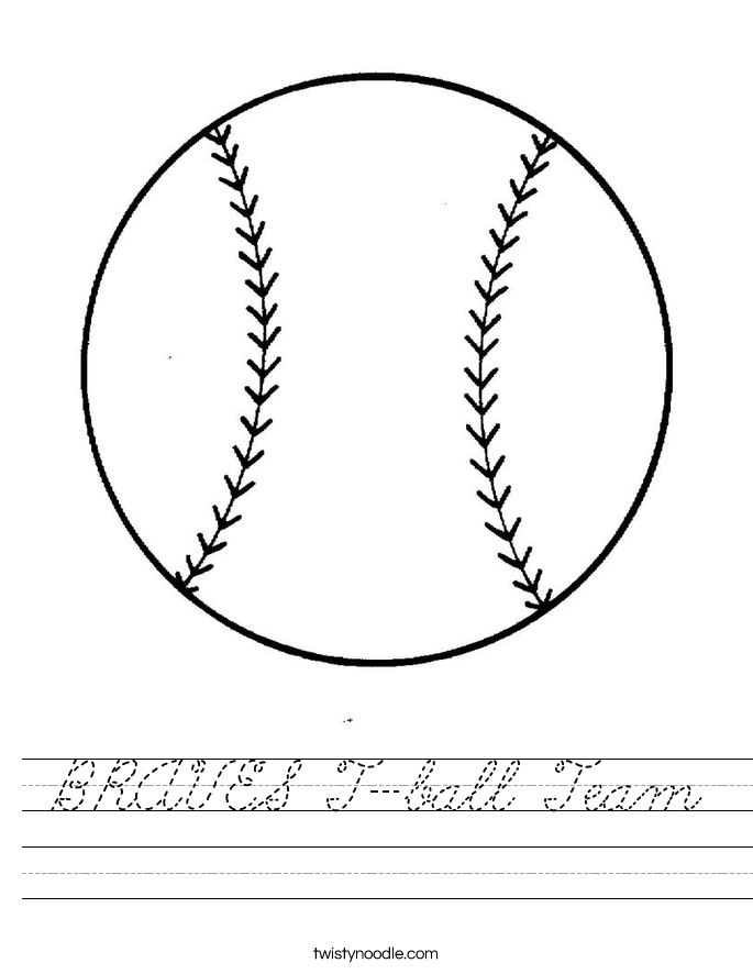 BRAVES T-ball Team Worksheet