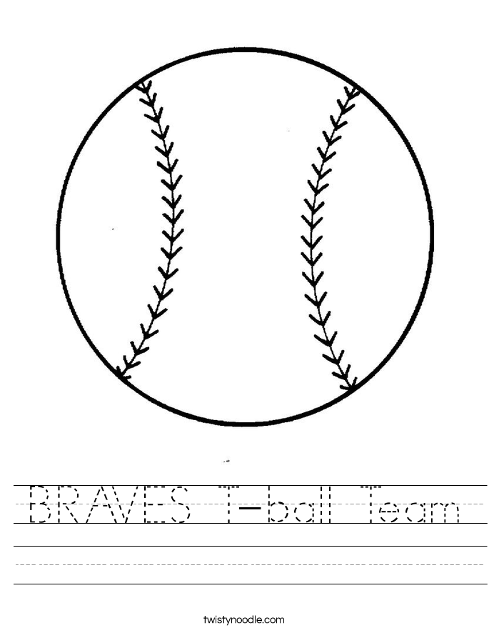 BRAVES T-ball Team Worksheet