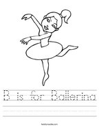 B is for Ballerina Handwriting Sheet