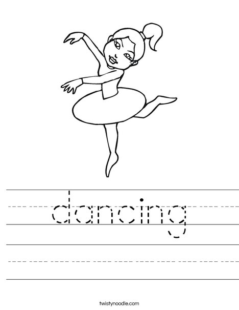 Ballerina with Ponytail Worksheet