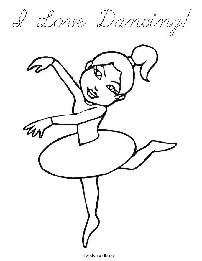 I love dancing coloring page cursive twisty noodle for Cursive coloring pages