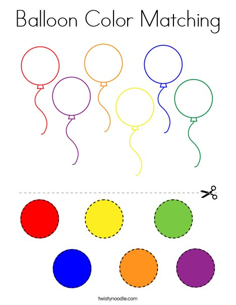 Balloon Color Matching Coloring Page