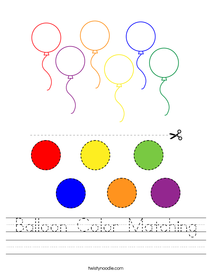 Balloon Color Matching Worksheet