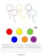 Balloon Color Matching Handwriting Sheet