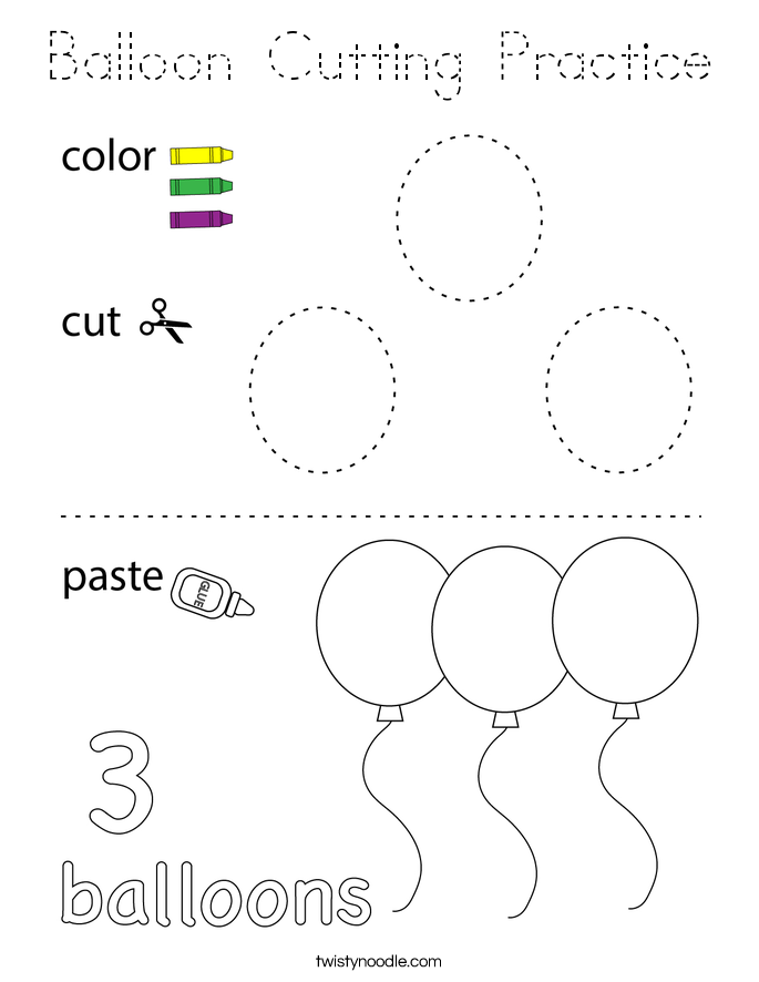 Balloon Cutting Practice Coloring Page