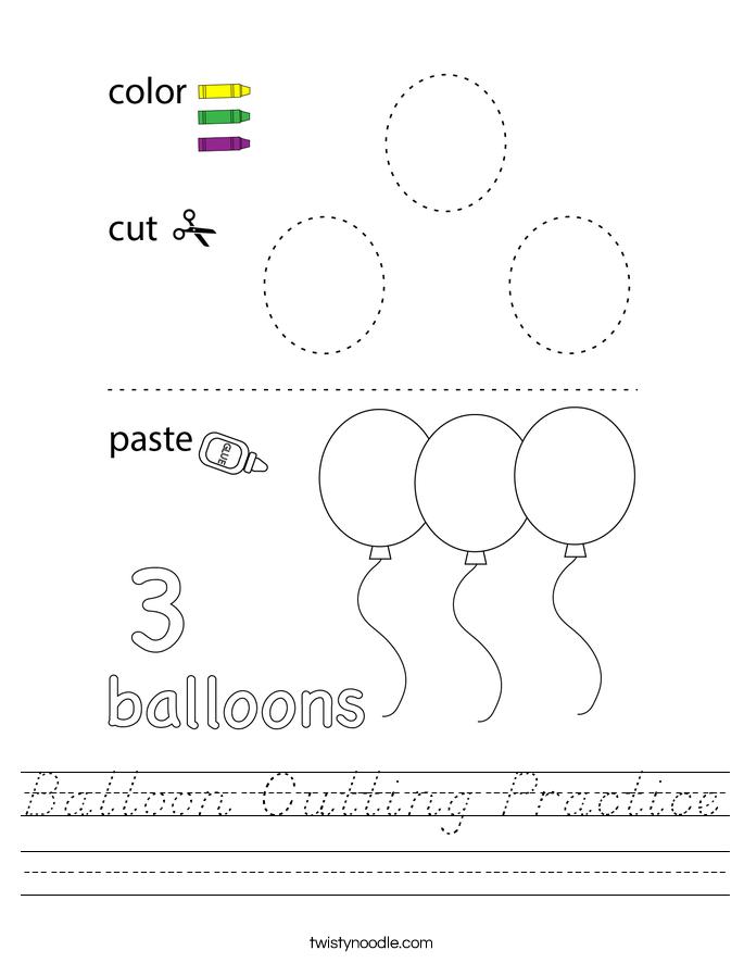 Balloon Cutting Practice Worksheet
