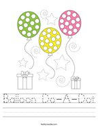 Balloon Do-A-Dot Handwriting Sheet