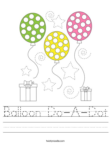 Balloon Do-A-Dot Worksheet