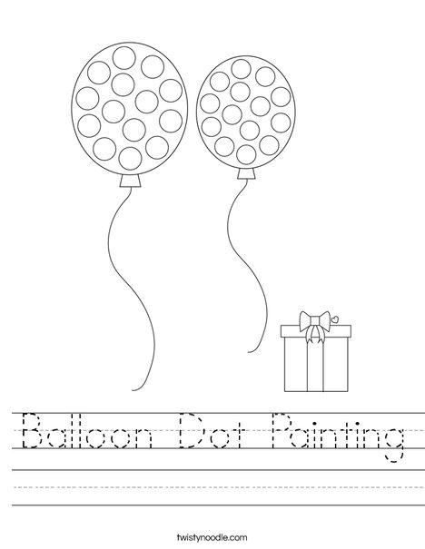 Balloon Dot Painting Worksheet