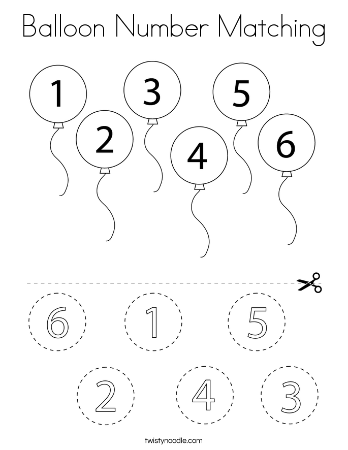 Balloon Number Matching Coloring Page