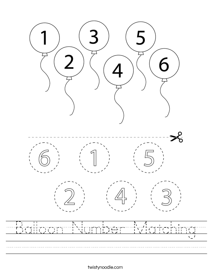 Balloon Number Matching Worksheet