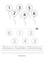 Balloon Number Matching Handwriting Sheet