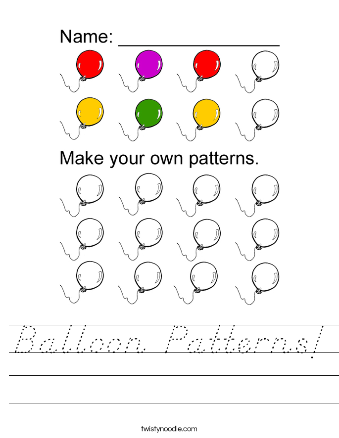 Balloon Patterns! Worksheet