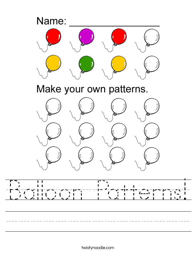 Balloon Patterns! Worksheet