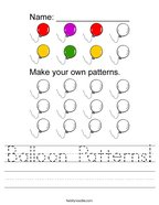 Balloon Patterns Handwriting Sheet