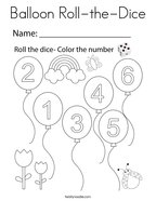 Balloon Roll-the-Dice Coloring Page