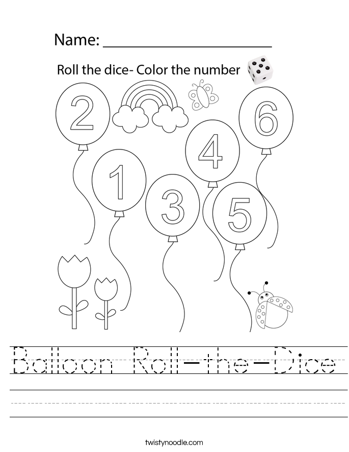 Balloon Roll-the-Dice Worksheet