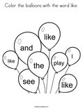 Color the balloons with the word like. Coloring Page