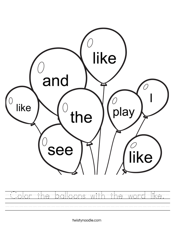 Color the balloons with the word like. Worksheet