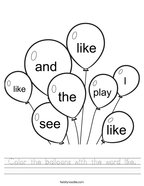 Color the balloons with the word like Handwriting Sheet