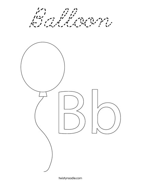 Balloon coloring page cursive twisty noodle for Cursive letter balloons