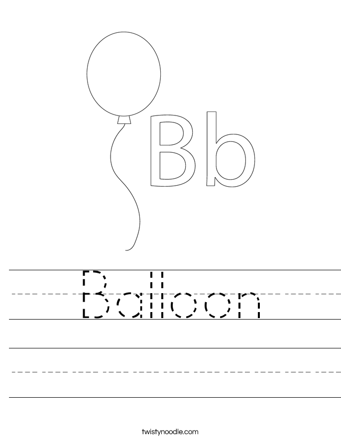 Balloon worksheet twisty noodle for Cursive letter balloons