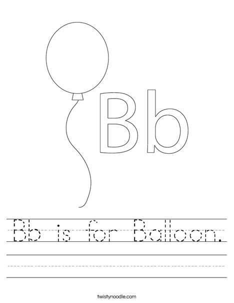 Bb Is For Balloon Worksheet Twisty Noodle